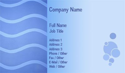 Blue Bubbles and Waves Business Card Template